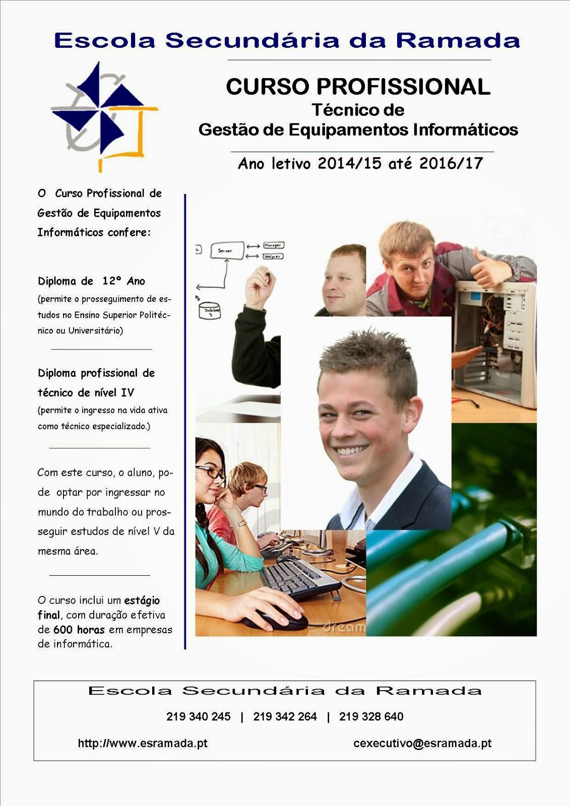 Curso profissional de gestão de equipamentos informáticos na Ramada (Nível 4 e equivalência ao 12º ano)