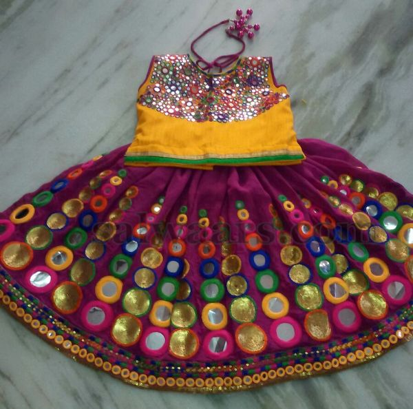 Colorful Mirror Work Skirt