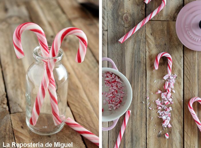 Dos imagenes forman esta fotografía, por un lado dos bastones de caramelo típicos de navidades en un bote de cristal y en la otra un baston de caramelo medio troceado sobre una mesa de madera.