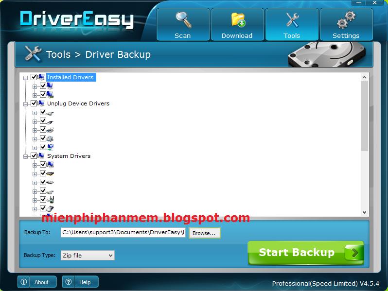 Sao lưu Driver trên DriverEasy 4.5.4