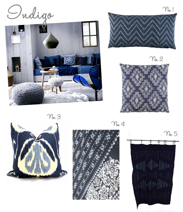 indigo pillows and fabrics