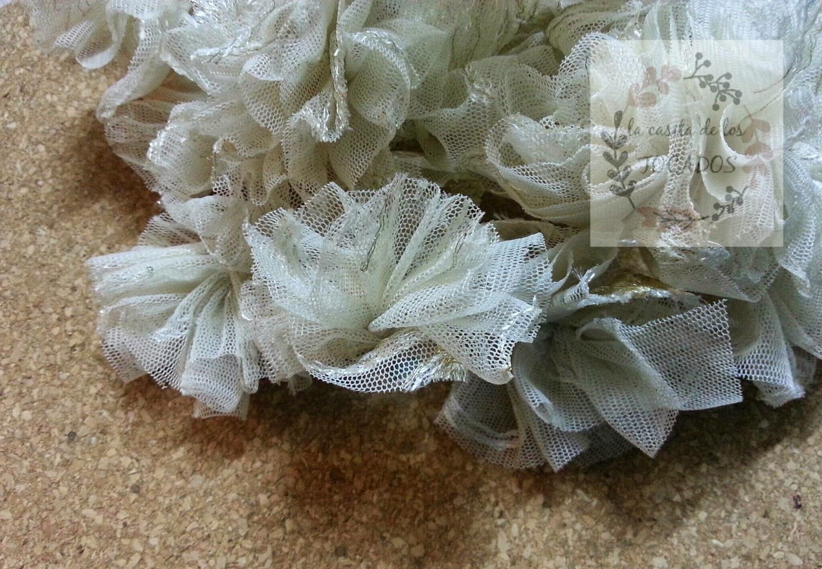 flores de tul para ramo vintage artesanal
