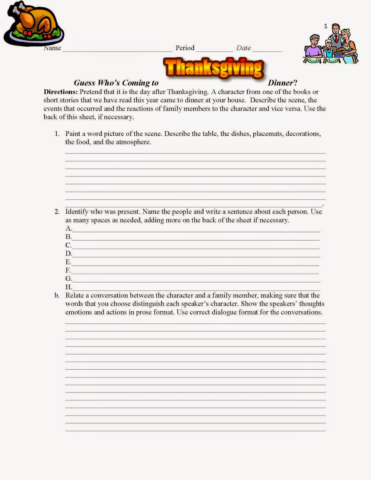 teach it write spice up thanksgiving this cornucopia of  comprehension activity guess who s coming to thanksgiving dinner