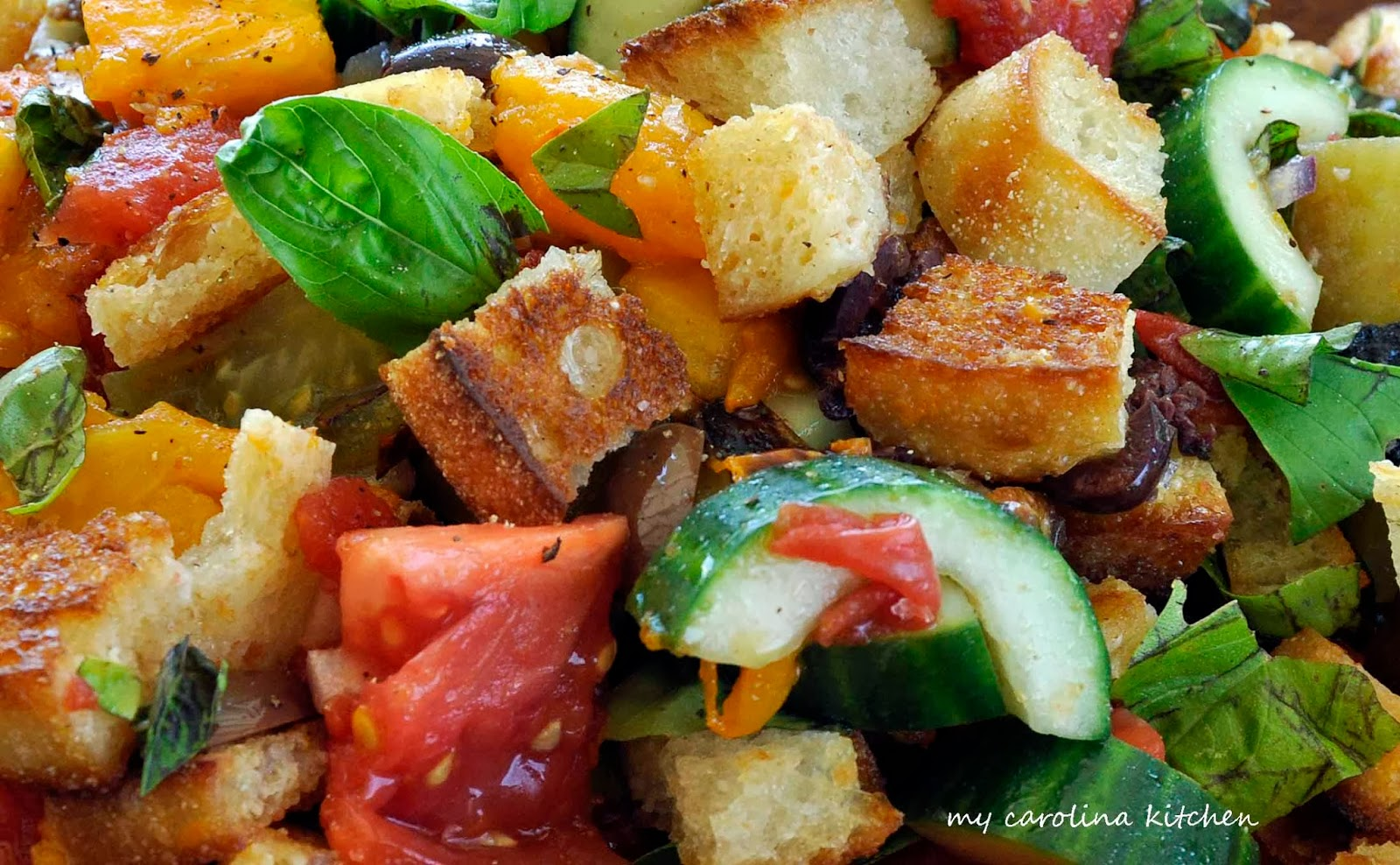 ... : Bread Salad with Charred Tomatoes, Cucumbers & Kalamata Olives