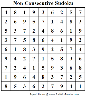 Non Consecutive Sudoku (Fun With Sudoku #60) Solution
