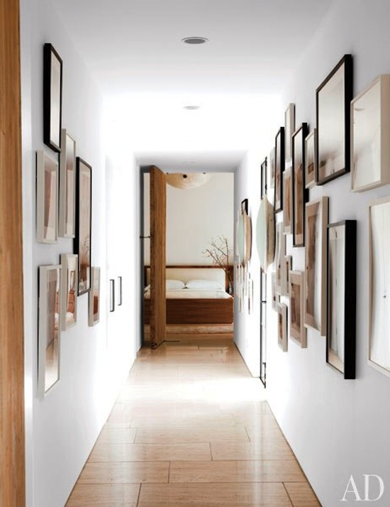 gallery wall, art, photos, white mod home, California