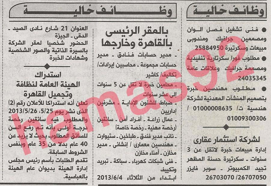 وظائف خالية من جريدة الاهرام الثلاثاء 04-06-2013