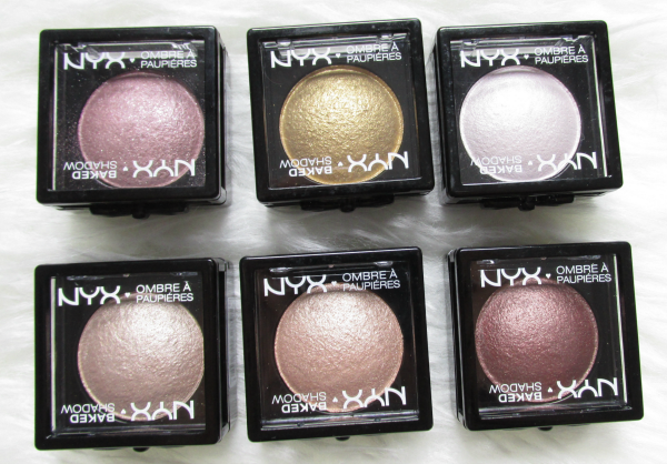 NYX Baked eyeshadows Posh, Ghetto Gold, White Noise, Supernova, Euphoria, Chance