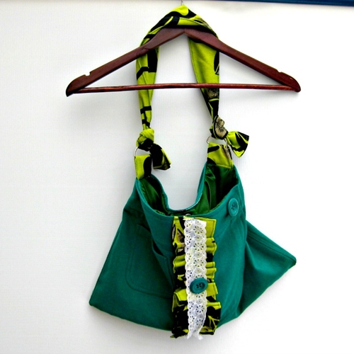 Handmade recycled green wool bag