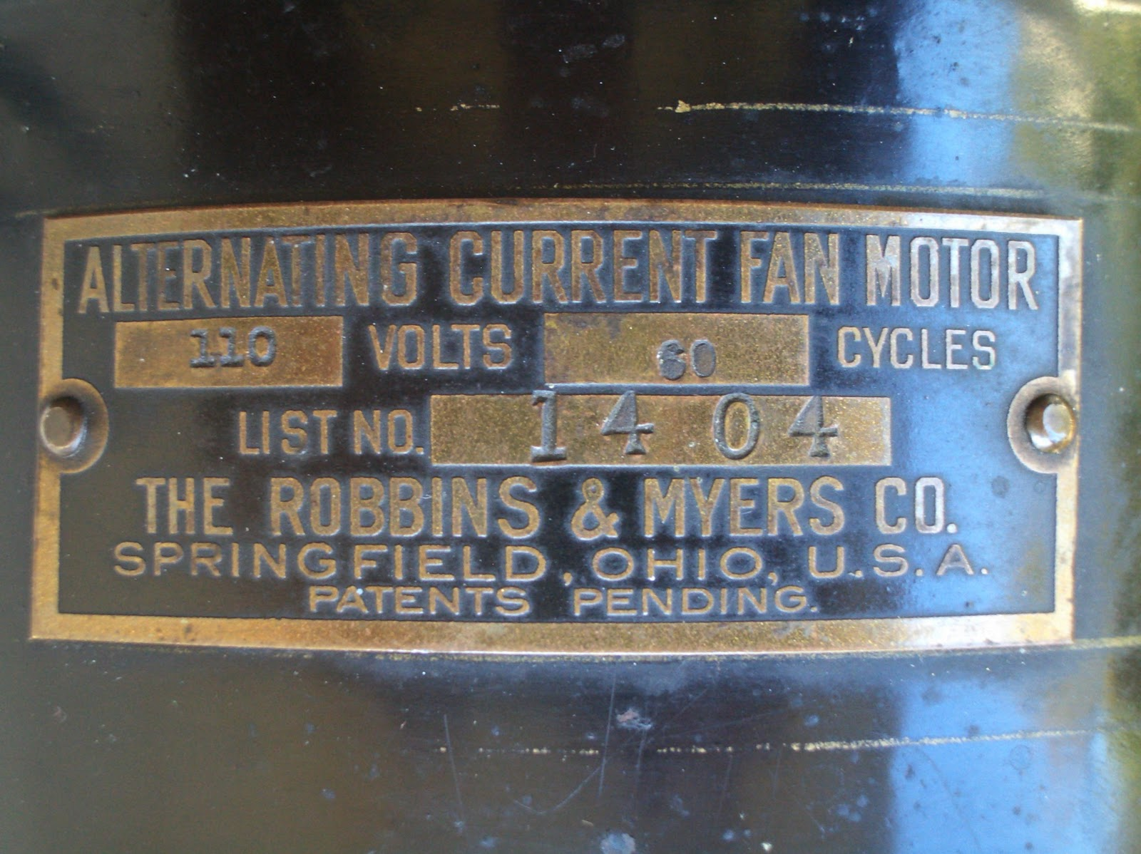If there were patents pending they never were on the motor tags of these  fans as an actual date.