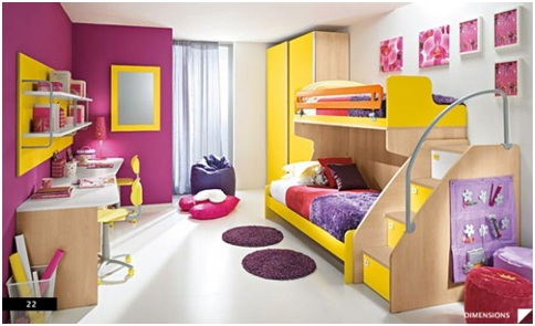 Double bedroom for children. Kid bedrooms for two brothers or sisters