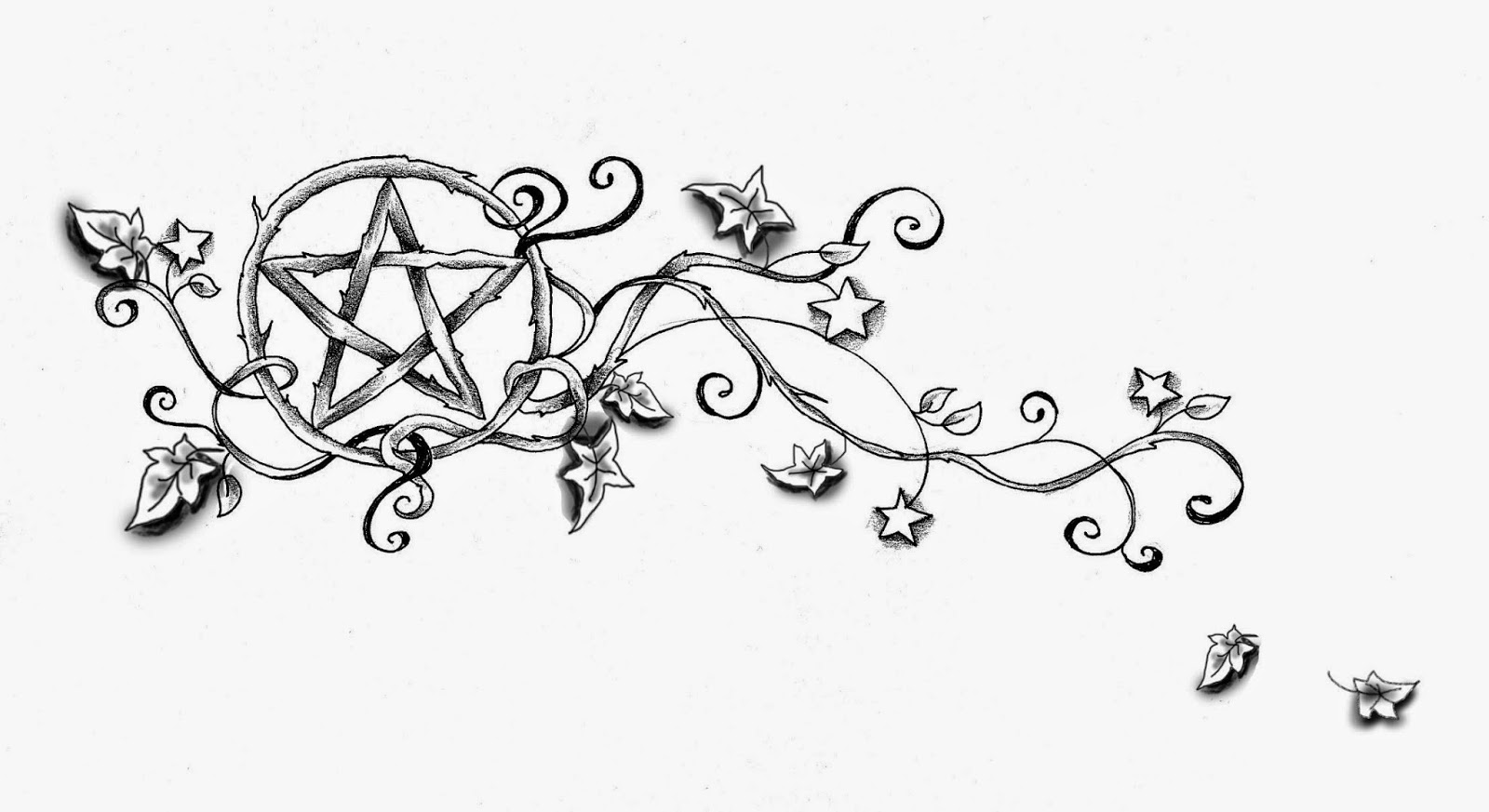 Custom Star Vine And Pentacle Tramp Stamp Tattoo Design