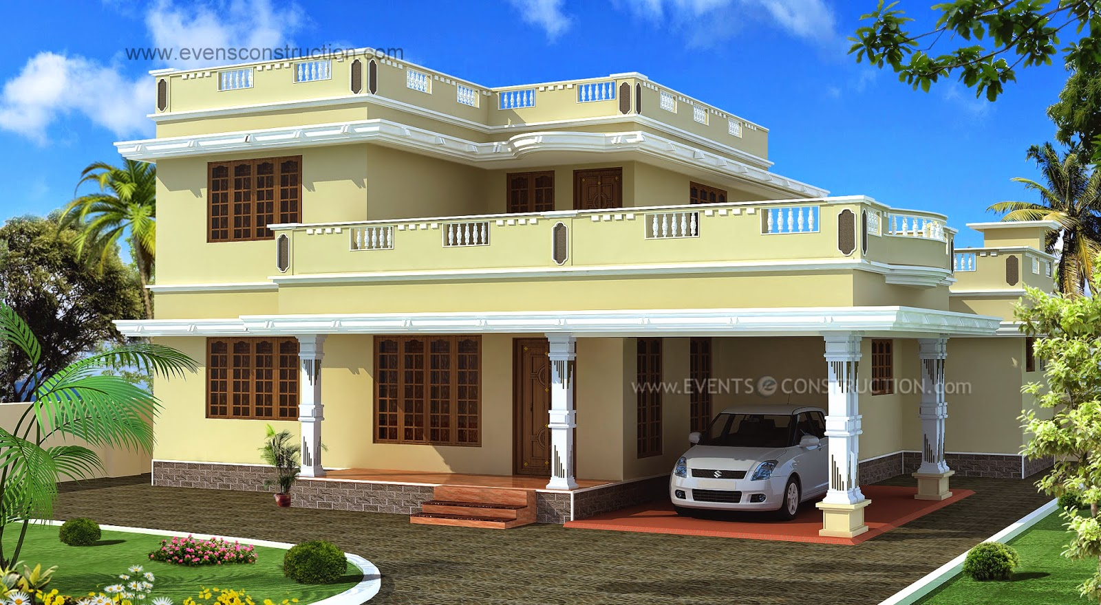 Evens construction pvt ltd flat roof house exterior in for Flat roof elevation