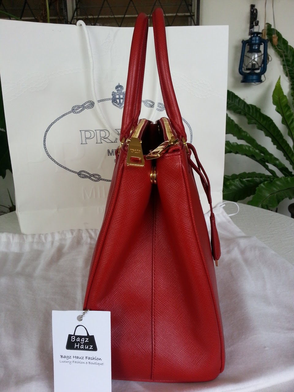02473e284a15 Bagz Hauz Fashion    SOLD   ~ PRADA BN2274 Saffiano Leather Tote in Red
