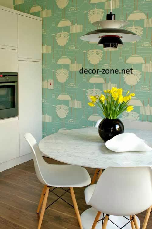 Creative kitchen wallpaper ideas modern diy art designs for Kitchen wallpaper patterns