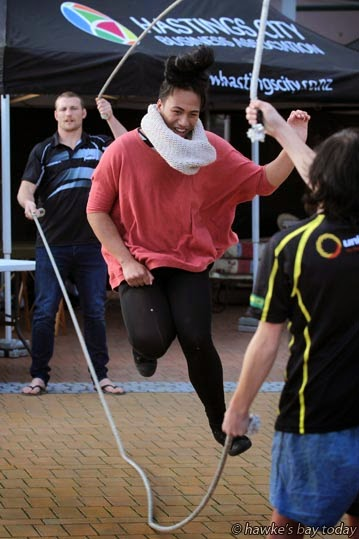 Roshorn Nepia, Wairoa, taking part in a skipathon in the Hastings CBD, raising funds for Flaxmere Boxing Academy, Hastings. photograph