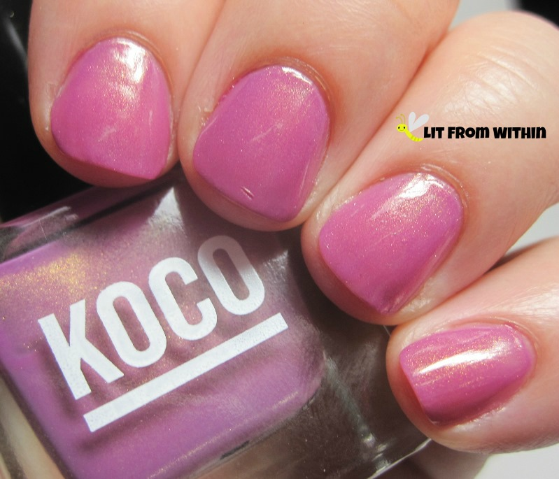 Koco Plum's The Word, an orchid color with a lovely subtle gold shimmer