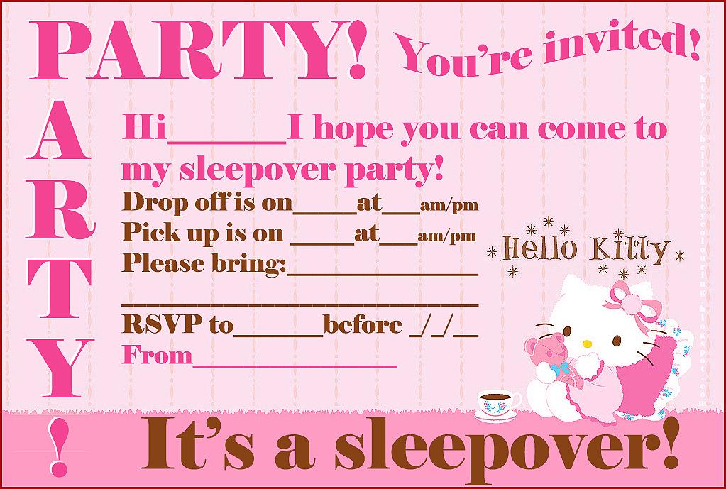FREE HELLO KITTY PRINTABLE SLEEPOVER