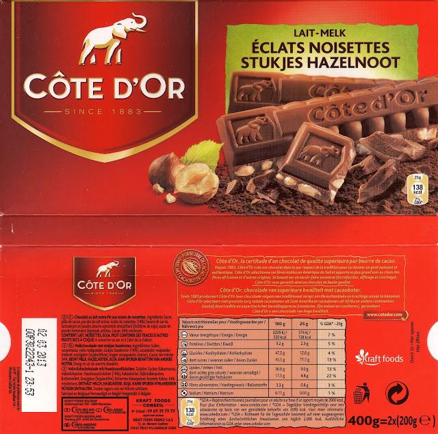 tablette de chocolat lait gourmand côte d'or lait eclats noisettes