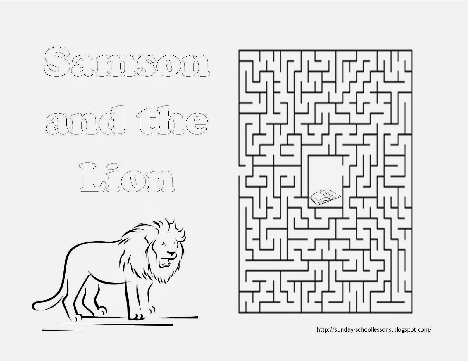 samson and the lion maze sunday school activity sunday school lessons of plenty. Black Bedroom Furniture Sets. Home Design Ideas