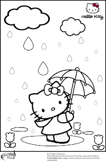 hello kitty in rainny day coloring pages
