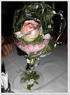 Tischdeko- Rose im Glas