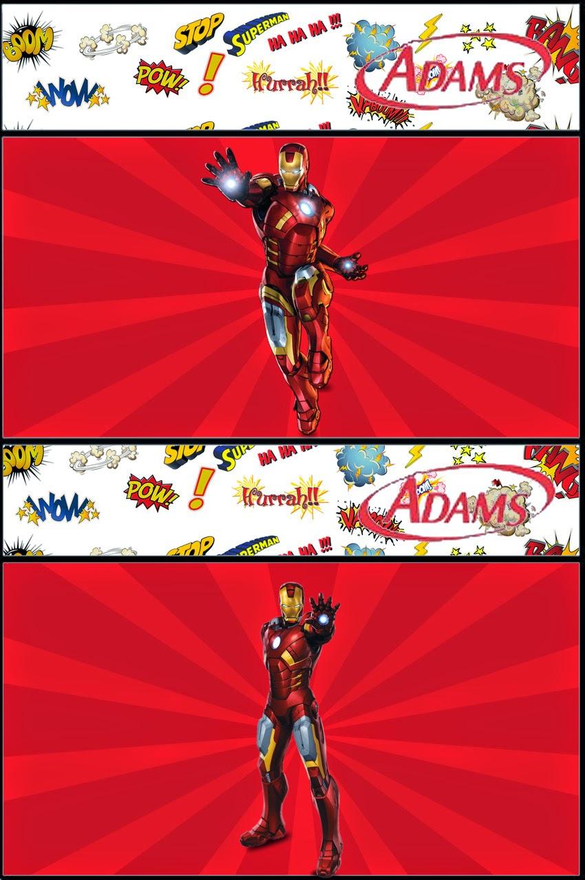 Etiqueta Golosina Adams de Iron Man para Imprimir Gratis.