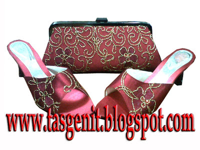 tas pesta clutch bag merah marun sandal pesta wanita set matching