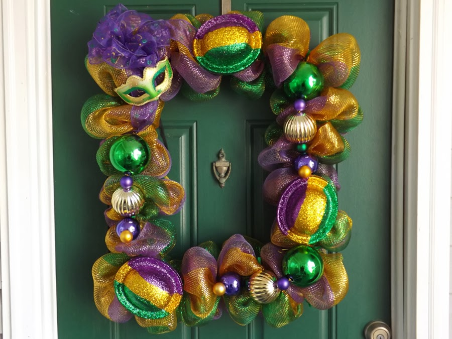 New Orleans Crafts By Design Mardi Gras Deco Mesh Picture Frame Wreath
