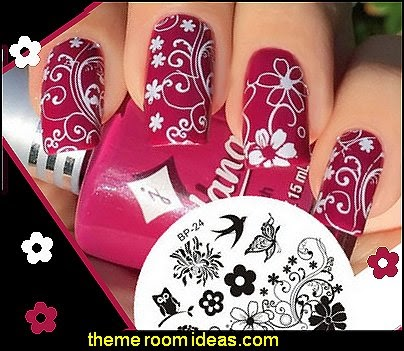 Decorating theme bedrooms maries manor nail art flower themed charming spring nail art stamping stamp template image plate prinsesfo Image collections