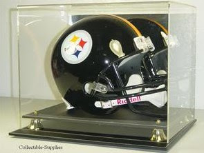 DELUXE FULL SIZE FOOTBALL HELMET BLACK LEATHER DISPLAY
