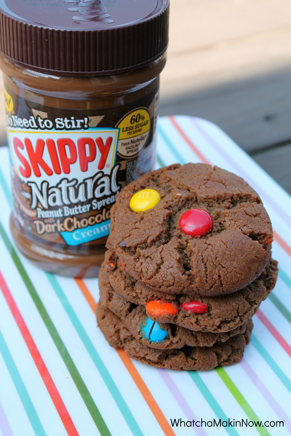 Chocolate Peanut Butter M&M Cookies - Use Skippy Dark Chocolate Peanut Butter next time you make PB cookies!