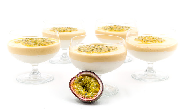 Raw mango and coconut cream with passion fruit recipe shot with passion fruit