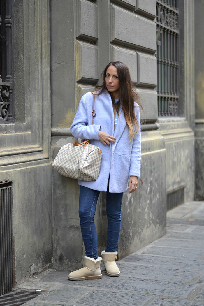 look cappotto azzurro