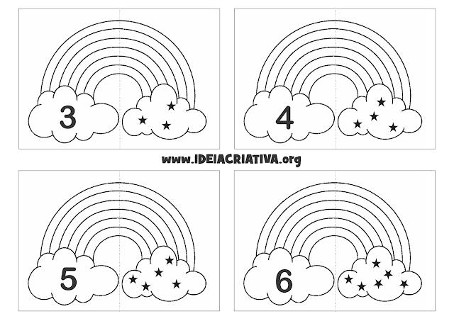 Jogo Pedagógico Arco- íris Número e Quantidade para colorir
