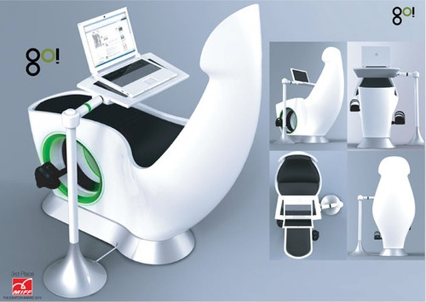 U0027Gou0027 By Rizki Tarisa Is An All In One Chair That Has A Desktop, Lounge Chair,  Workstation And An Exercise Machine All In One.