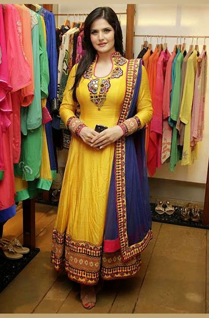 1838 - Zarine Khan Yellow Anarkali Suit with Resham Embroiderey