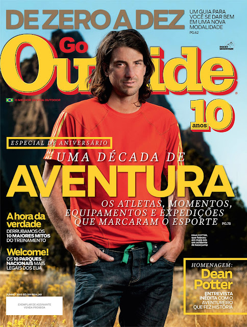 Dean Potter outside at Smith Rock in Oregon on the cover of Outside Magazine.