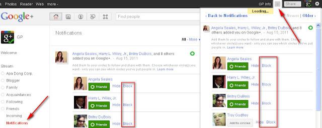 Google+: Notifications block