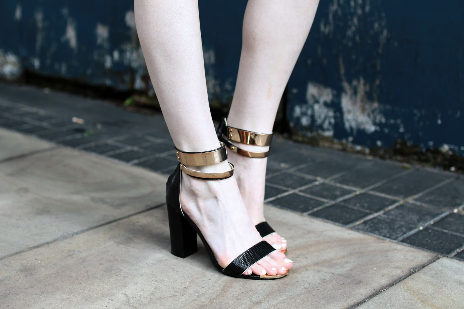 gold ankle strap heels