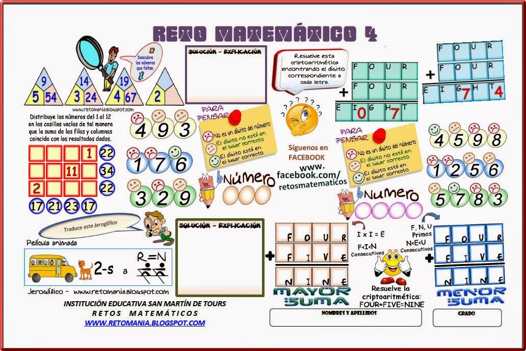 Criptoaritmética, Alfamética, Sólo para Genios, Los números que faltan, Desafíos matemáticos, Retos matemáticos, Problemas matemáticos, Problemas para pensar, Problemas con solución, Descubre el Número, Jeroglíficos, Jeroglíficos para niños, Jeroglíficos con solución