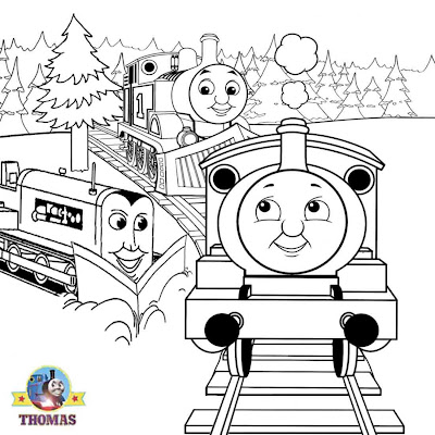 FREE amazing pictures Kids online fun with Terence Percy train and Thomas Christmas colouring sheets