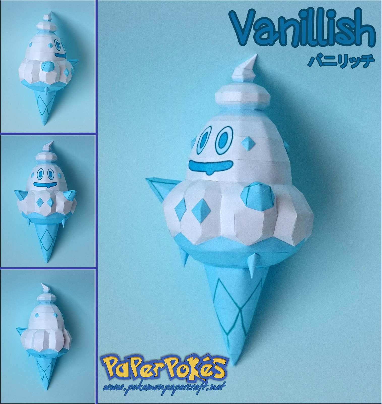 Paperpokés - Pokémon Papercraft: VANILLISH for Ice Cream Pokemon Evolution  111bof