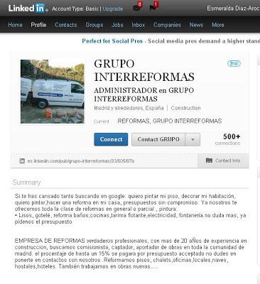 Pagina de LinkedIn del grupo Interreformas