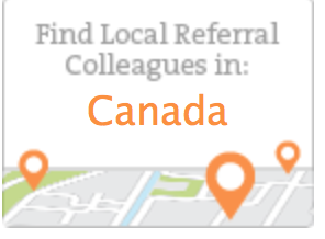 Referral Link offers local referrals in Canada. Screen shot shows Find local referral Colleagues in: Canada. with orange ,greenery and white map