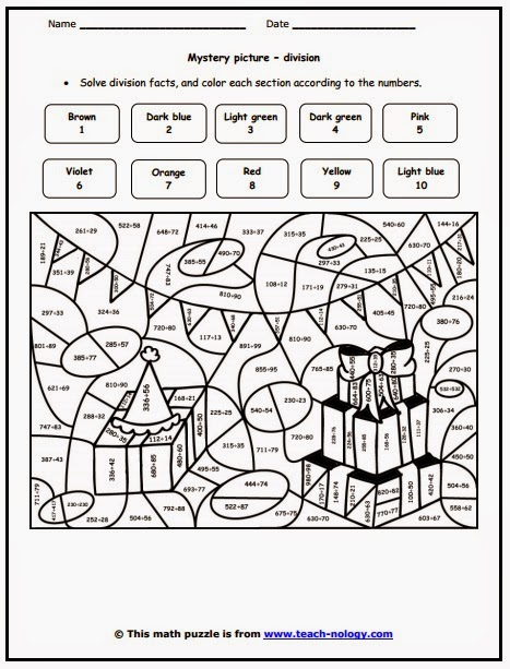 Coloring Sheet Division Free Colour By Number Pages