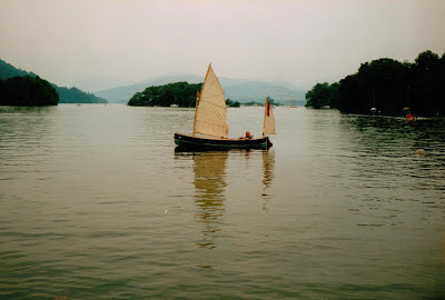 Martin Neville in his Humber Yawl on Windermere in Cumbria