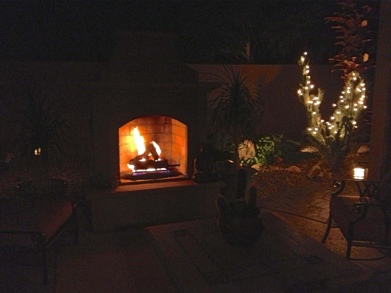 Evening Outdoor Fireplace Roaring Fire