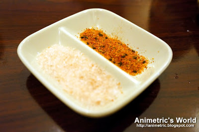 Japanese pink salt and seven spice powder at Yakitori Kitchen, Burgos Circle