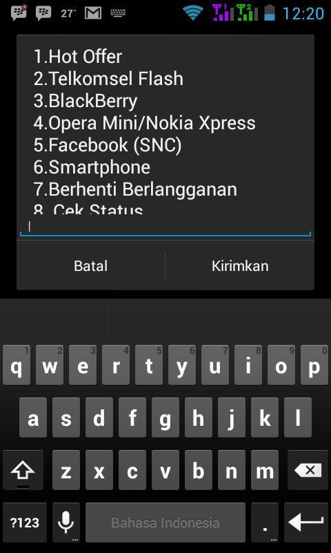 membeli paket internet telkomsel, kemudian akan mucul menu berikut